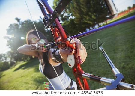 Target boogschieten uitrusting boeg pijlen buitenshuis Stockfoto © naumoid