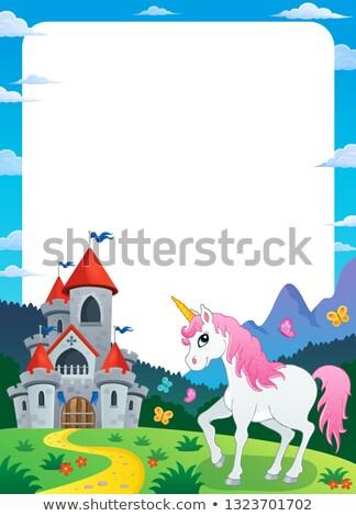 Unicorn near castle theme frame 3 Stock photo © clairev