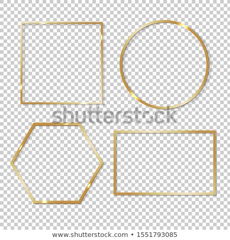Golden Rhombus Empty Picture Frame at the Wall Stock photo © make