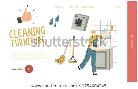 feminino · empregado · limpeza · companhia · lavagem · espelho - foto stock © studiolucky