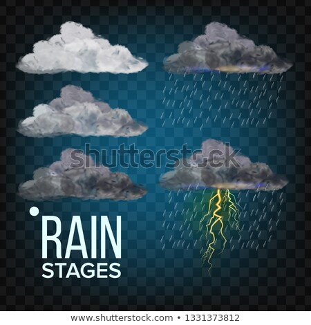 Rain Stages Vector. Cloud, Storm. Weather Icon. Realistic Isolated Transparent Illustration Stock photo © pikepicture