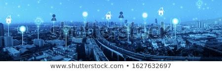 Intelligens szolgáltatások okos város fejléc szalag Stock fotó © RAStudio