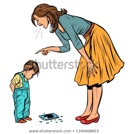 mother and guilty son broken phone isolate on white background stock photo © studiostoks