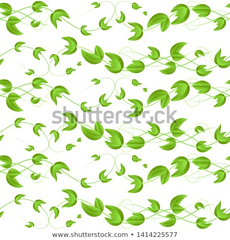 Green Leaves, Twigs Cartoon Vector Seamless Pattern Stock photo © pikepicture