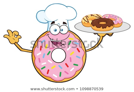 Chef Chocolate Donut Cartoon Character Serving Donuts Stock photo © hittoon