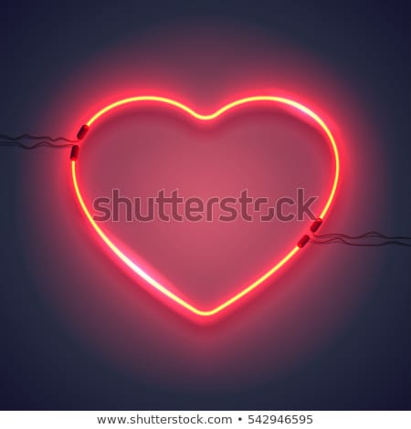 Red Love symbol in neon light Vector. Valentine day romantic sym Stock photo © frimufilms