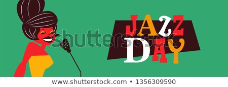 Stock photo: Jazz Day poster of retro mid century woman singer