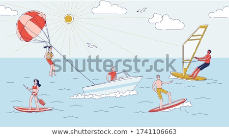 Summer People by Seaside, Swimming Windsurfing Stock photo © robuart