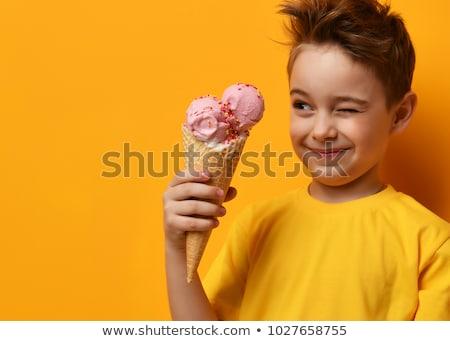 ijs · textuur · hand · gezicht · gelukkig - stockfoto © bluering