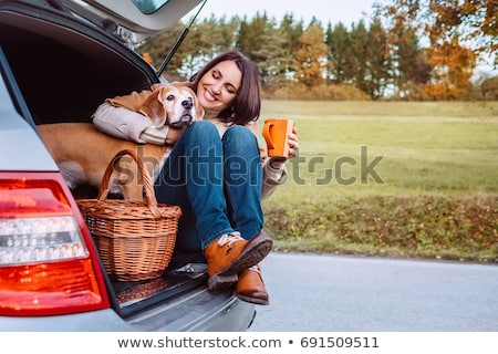 Stock photo: happy family with beagle dog outdoors in autumn