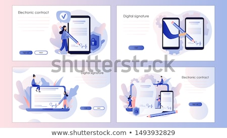 Stock photo: Electronic contract concept landing page