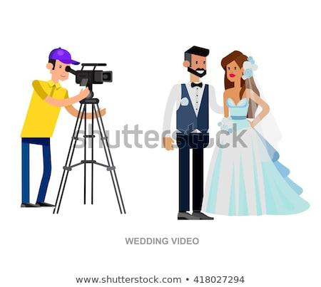 Filmadora cerimônia de casamento vetor ícone fino linha Foto stock © pikepicture