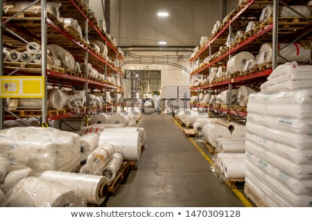 Warehouse of modern chemical production factory with rolled polyethylene film Stock photo © pressmaster