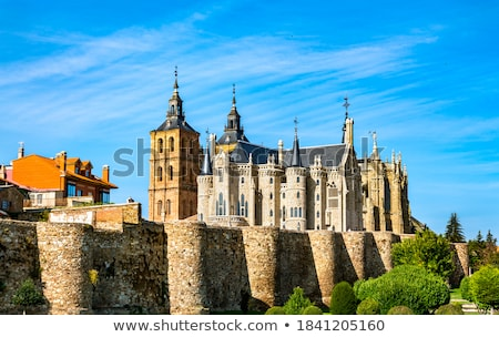 View Of Astorga Cathedral and Episcopal Palace by Gaudi Stock photo © diego_cervo