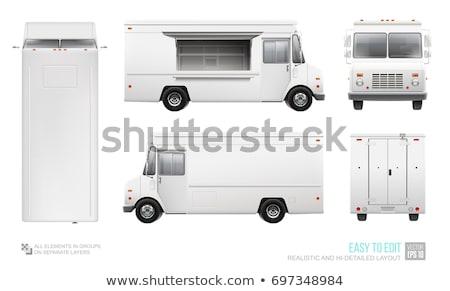 żywności ciężarówka widok z boku biały wektora Zdjęcia stock © YuriSchmidt