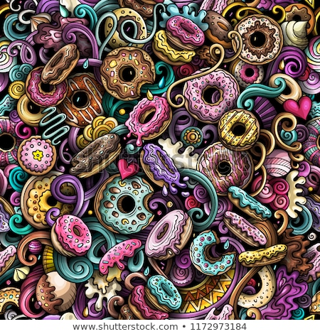 Donuts hand drawn doodles seamless pattern. Sprinkled doughnuts background Stock photo © balabolka