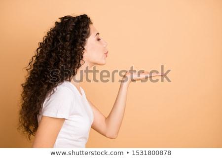 Küldés csók portré gyönyörű nő arc háttér Stock fotó © iko