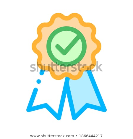 Medal Order With Ribbon Approved Mark Vector Icon Stock photo © pikepicture