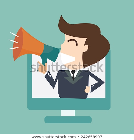 monitor of computer with megaphone speaker vector stock photo © robuart