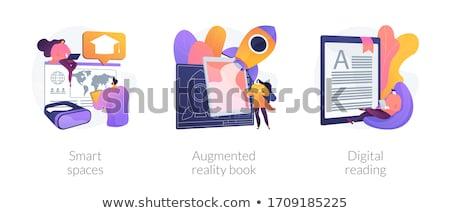 futuro · tecnologia · 3D · app · blu · umani - foto d'archivio © rastudio