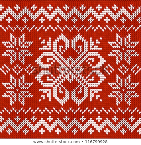 Snowflake Embroidery on Red in Closeup Vector Stock photo © robuart