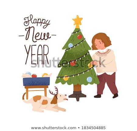 Kartpostal kız hazırlık Noel vektör karakter Stok fotoğraf © robuart