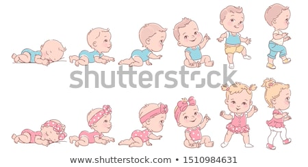 Baby girl in diapers isolated on white Stock photo © Lopolo