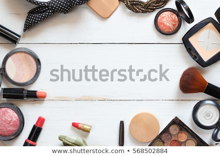 Eyeshadow palette and make-up brush on pink background, eye shad Stock photo © Anneleven