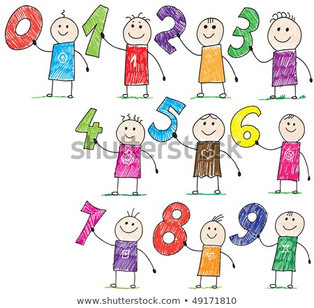 basic numbers cartoon funny characters group Stock photo © izakowski
