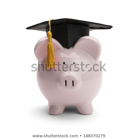 Piggy bank graduação boné seis Foto stock © AndreyPopov