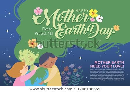 Poszter terv anya föld napja lány ölel Stock fotó © bluering