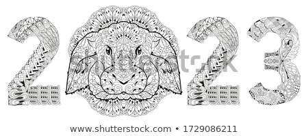 Zentangle stylized rabbit number 2023. Hand Drawn lace vector illustration for coloring Stock photo © Natalia_1947
