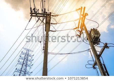 elektromosság · kábel · fából · készült · sok · transzformátor · padló - stock fotó © stoonn