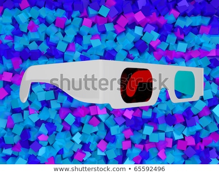 Cinema 3d Glasses Over Colorful Blocks Stok fotoğraf © Arsgera