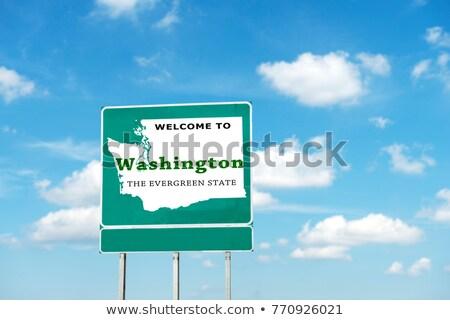 Вашингтон шоссе знак зеленый США облаке улице Сток-фото © kbuntu