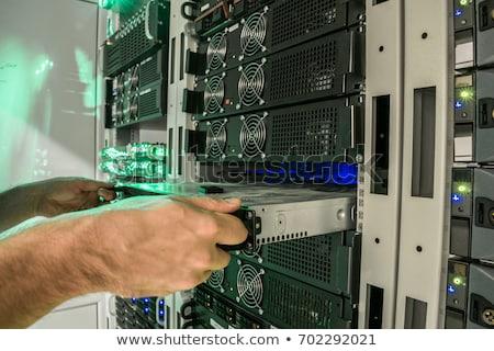 Fő- raktár számítógép három emlék kártya Stock fotó © gewoldi