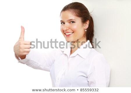 gelukkig · zakenvrouw · tonen · teken · geïsoleerd - stockfoto © dacasdo
