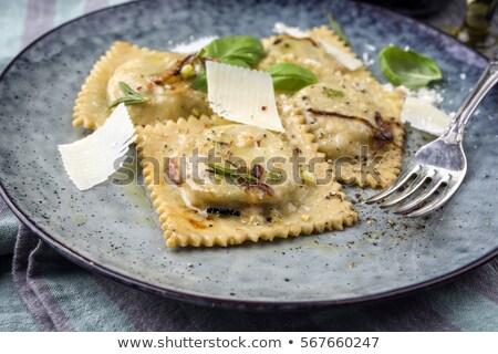 Ravioli bazsalikom étel tészta gurmé Stock fotó © M-studio
