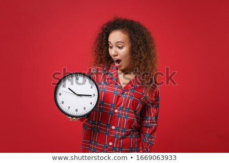 Woman in underwear holding wall clock Stock photo © photography33