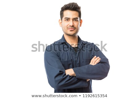 Retrato mecánico blanco sonrisa construcción fondo Foto stock © wavebreak_media