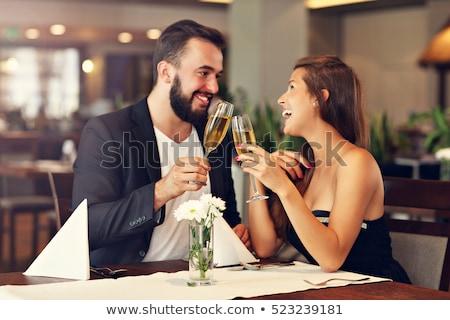 Pár pirít étterem kéz férfi boldog Stock fotó © photography33