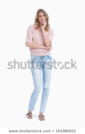 nő · áll · felfelé · pihen · fej · kéz - stock fotó © wavebreak_media