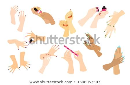 Manikűr folyamat nő manikűrös kéz nők Stock fotó © Suljo