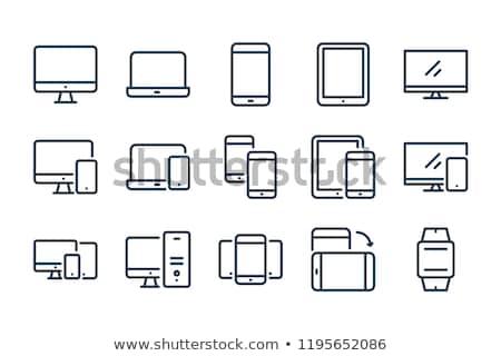 Számítógép ikon szett számítógép billentyűzet hangszóró fekete Stock fotó © Genestro