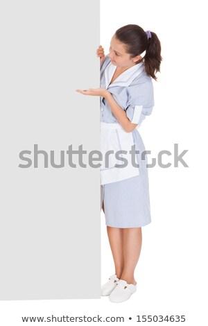 Gelukkig jonge meid wijzend billboard portret Stockfoto © wavebreak_media