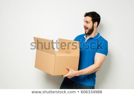 jungen · Mann · tragen · Karton · weiß - stock foto © wavebreak_media