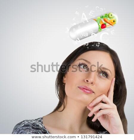 gezond · leven · vrouw · vitaminen · meisje · schoonheid · geneeskunde - stockfoto © hasloo