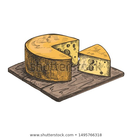 Old cheese on wood table Stock photo © Massonforstock
