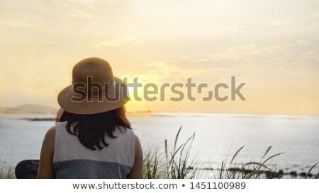 Backview of a Girl on Beach Stock photo © lenm