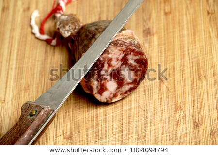 Stock photo: slices of salchichon, spanish cured sausage